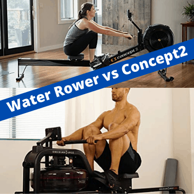 Water rowing machine comparison with Concept2