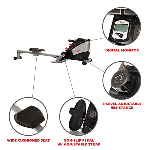sunny rower digital monitor magnetic rowing machine with foot straps, foot plates and rowing handle