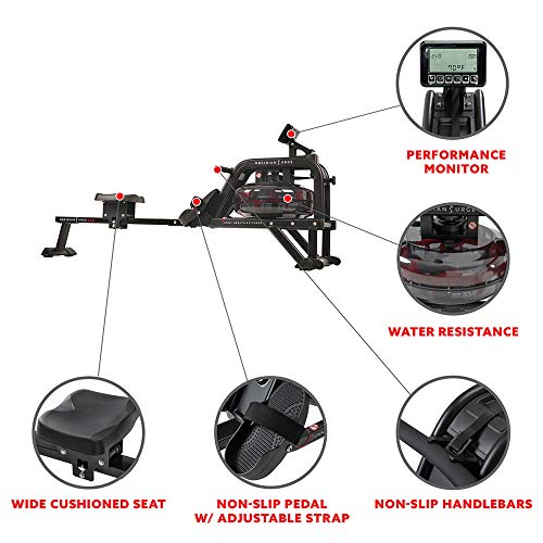 sunny health water rower monitor and machine features